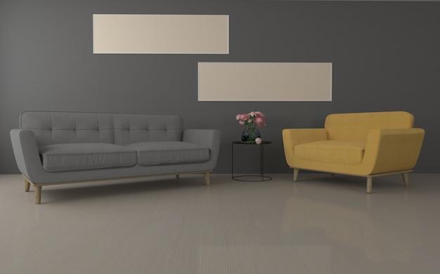 Modern woonkamer realistisch mockup van 3d teruggegeven van binnenlandse bank - bank en lijst Premium Foto