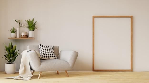 Modern woonkamerbinnenland met bank en groene installaties, lamp, lijst aangaande woonkamer Premium Foto