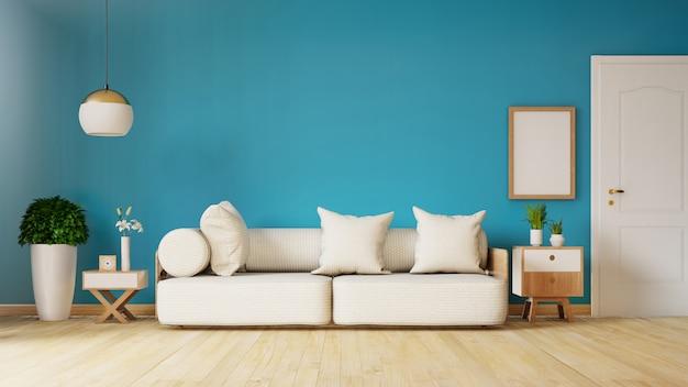 Modern woonkamerbinnenland met bank en groene installaties, lamp, lijst op donkerblauwe marmeren muur. 3d-weergave Premium Foto
