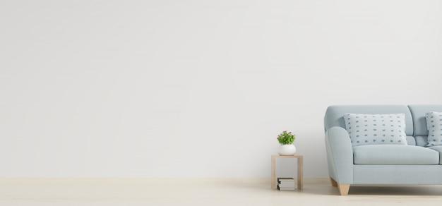 Modern woonkamerbinnenland met bank en groene installaties, lijst op witte muurachtergrond. Premium Foto