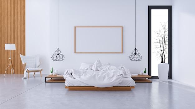 Modern zolderbinnenland van slaapkamerontwerp en comfortabele stijl Premium Foto