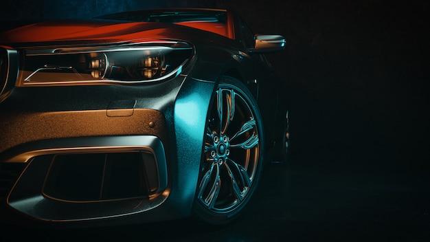 Moderne auto's bevinden zich in de studio. Premium Foto