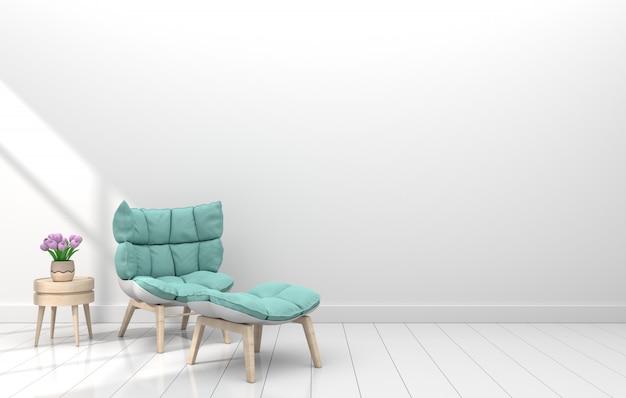 Moderne binnenkamer met leunstoel en bloem in witte kamer Premium Foto
