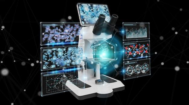 Moderne digitale microscoop met schermanalyse 3d-rendering Premium Foto