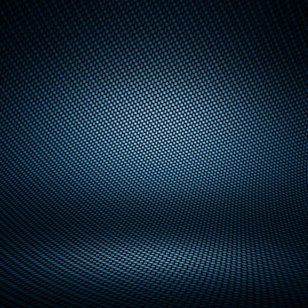 Moderne donkerblauwe koolstofvezel geweven binnenlandse studio met licht voor achtergrond Premium Foto
