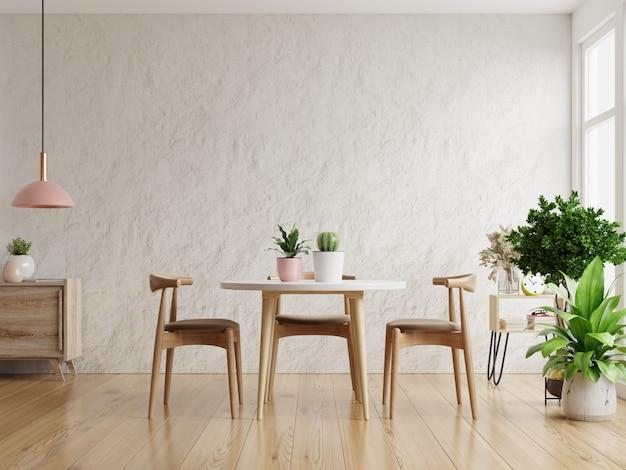 Moderne eetkamer interieur met witte gips wall.3d-rendering Premium Foto