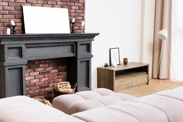Moderne, elegante woonkamer met open haard Gratis Foto