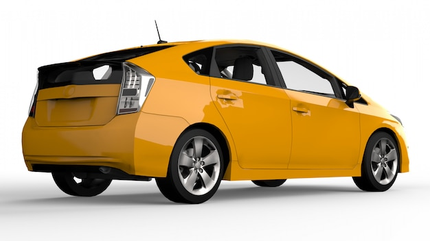 Moderne familie hybride auto geel op wit met schaduw ter plaatse Premium Foto
