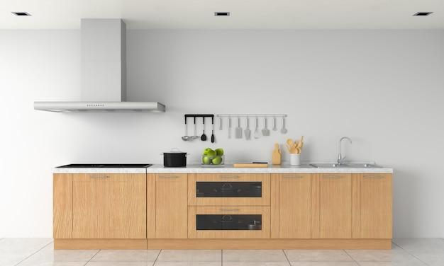 Moderne keuken aanrecht en elektrische inductie kookplaat voor mockup Premium Foto