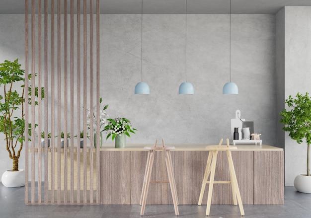 Moderne keuken kamer interieur, moderne restaurant kamer, moderne coffeeshop interieur Premium Foto