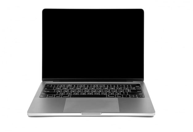 Moderne laptop computer die op de witte achtergrond wordt geïsoleerd Premium Foto