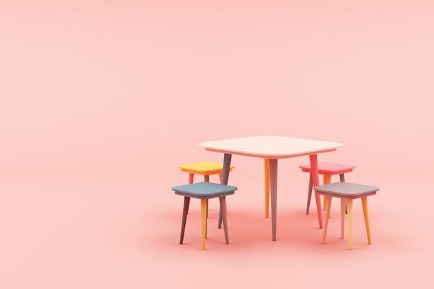 Moderne minimale kruk bij het roze 3d teruggeven Premium Foto
