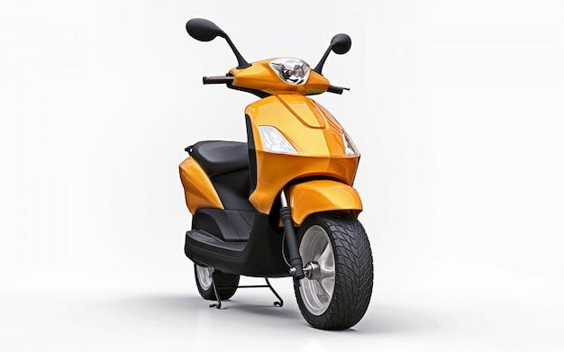 Moderne stedelijke oranje bromfiets op een witte achtergrond Premium Foto