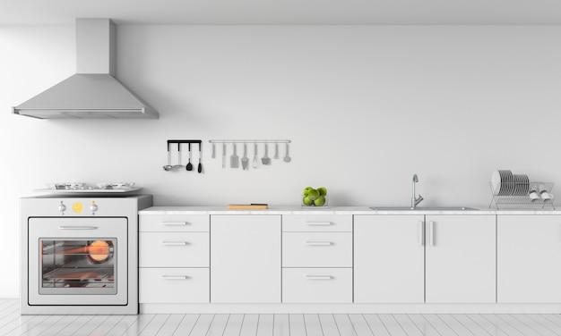 Moderne witte keuken aanrecht voor mockup Premium Foto