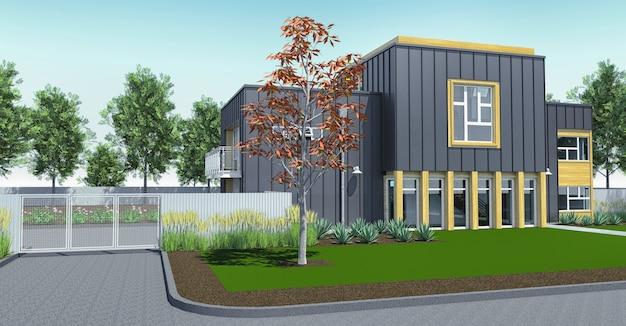 Moderne woning met tuin en garage. 3d-weergave. Premium Foto