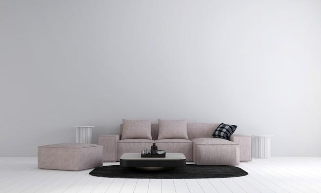 Moderne woonkamer en woonkamer interieur en witte muur textuur Premium Foto