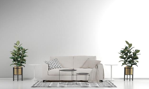 Moderne woonkamer interieur en witte muur textuur Premium Foto