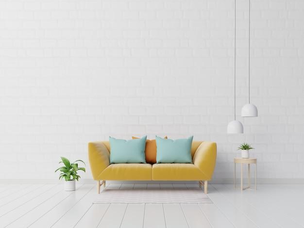 Moderne woonkamer interieur met sofa en groene planten, lamp, tafel op witte muur Premium Foto