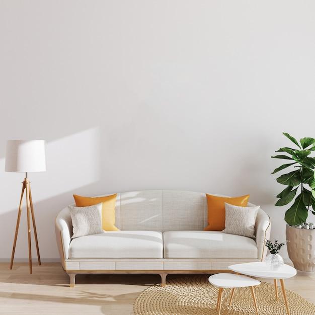 Moderne woonkamer interieur, scandinavische stijl, 3d illustratie. woonkamer mockup. Premium Foto
