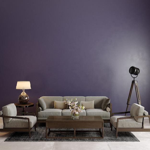 Moderne woonkamer met bank en andere decors voor de paarse muur Premium Foto