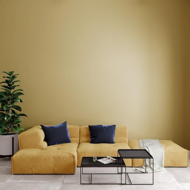 Moderne woonkamer met bank en kussens voor de gele muur Premium Foto