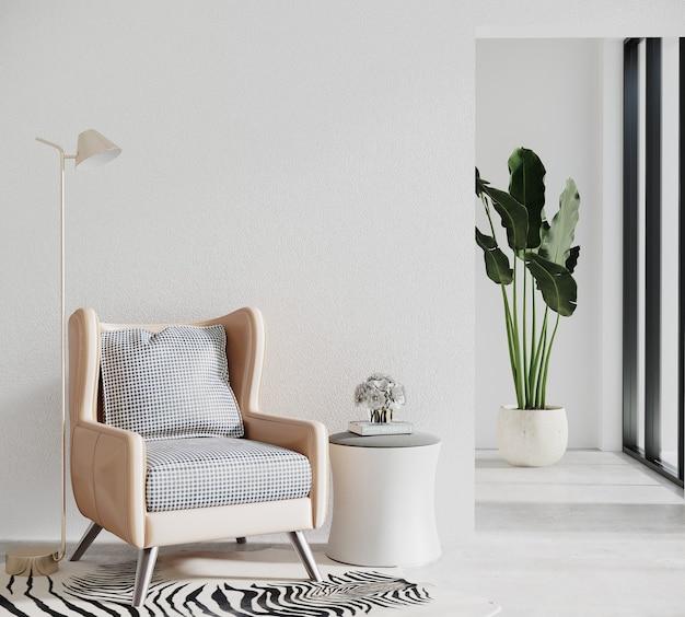 Moderne woonkamer met bank en plant Premium Foto