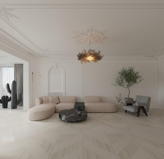 Moderne woonkamer met bank, fauteuil, salontafel en keramische vloer Premium Foto
