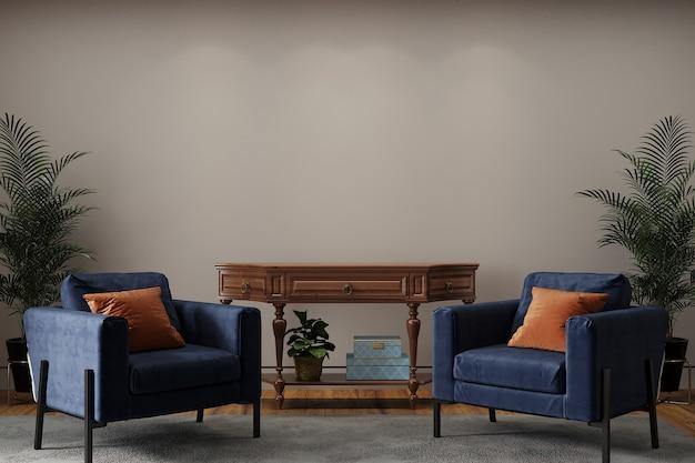 Moderne woonkamer met blauwe fauteuil en oranje kussen Premium Foto