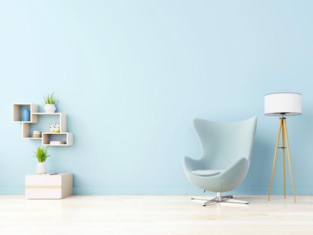 Moderne Houten Vloeren : Moderne woonkamer met blauwe fauteuil heeft kast en houten planken