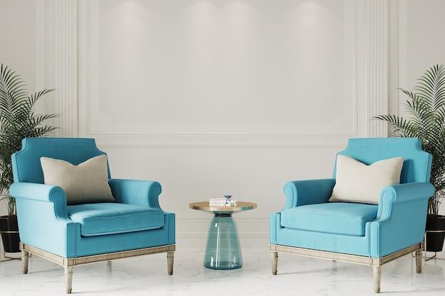 Moderne woonkamer met blauwe fauteuils Premium Foto