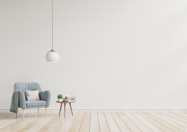 Moderne woonkamer met blauwe leunstoel en houten planken op houten bevloering en witte muur. Premium Foto