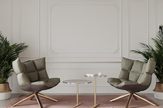 Moderne woonkamer met fauteuils en planten Premium Foto