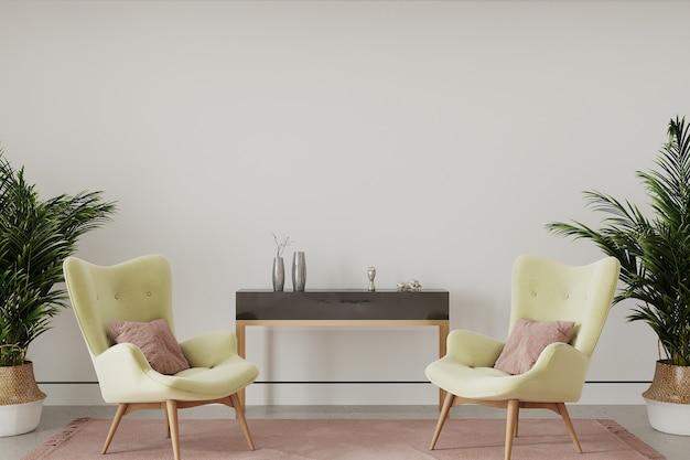 Moderne woonkamer met gele fauteuil Premium Foto