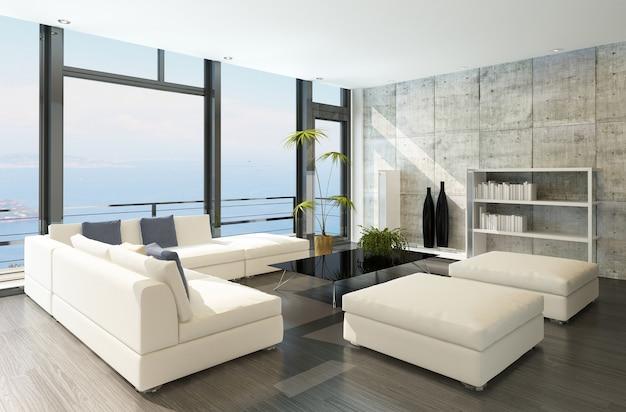 Moderne woonkamer met grote ramen en betonnen muur Premium Foto