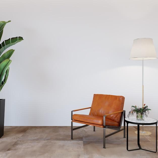 Moderne woonkamer met lederen fauteuil en decors Premium Foto
