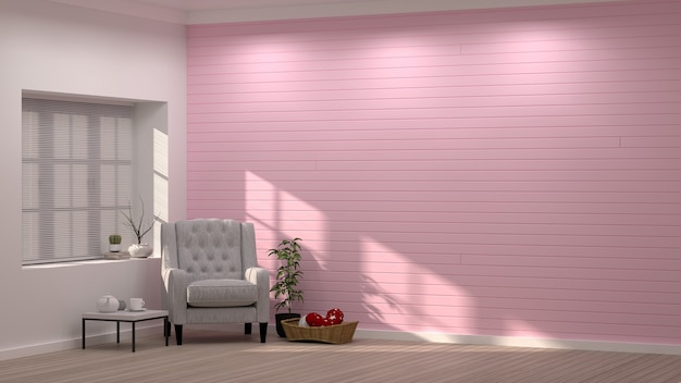 Moderne woonkamer roze roze roze muur interieur design, valentijn ...