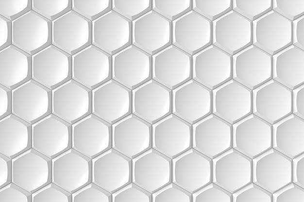 Moderne zeshoek tegelwand. 3d-weergave Premium Foto