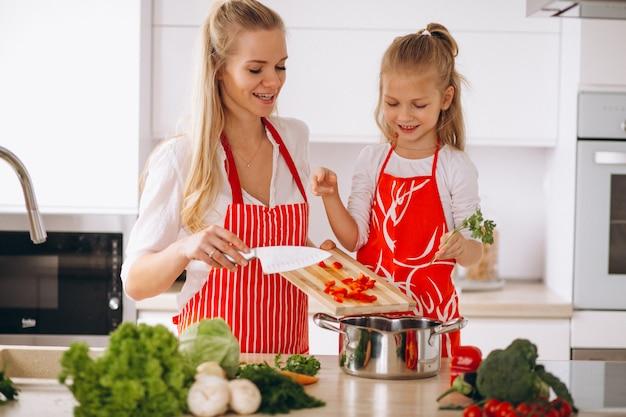Moeder en dochter koken in de keuken Gratis Foto