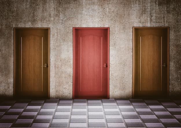 Moment van twijfel bij het kiezen van een deur. bedrijfsconcept en slimme keuzes Premium Foto