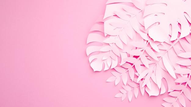 Monsterabladeren met exemplaarruimte op roze achtergrond Gratis Foto