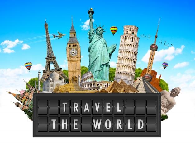 Monumenten van de wereld op een luchthaven billboard paneel Premium Foto