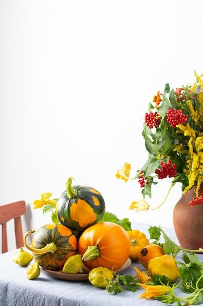 Mooi boeket van ambrosia, zinnia en takken van viburnum in een aarden pot, verse oogst van pompoenen op een tafel tegen een witte muur Premium Foto
