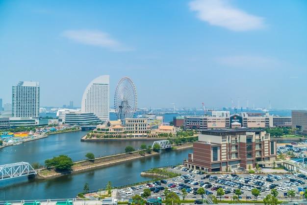 Mooi gebouw en architectuur in de skyline van yokohama Gratis Foto