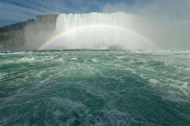 Mooi landschap van een regenboog die zich dichtbij de horseshoe falls in canada vormt Gratis Foto