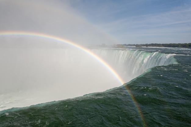 Mooi landschap van een regenboog over de horseshoe falls in canada Gratis Foto