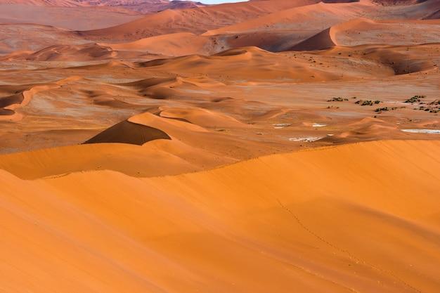 Mooi landschap van oranje zandduin oranje zand bij namib woestijn in namib-naukluft nationaal park sossusvlei in namibië. Gratis Foto