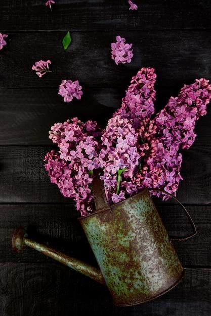 Mooi lila bloemboeket in metalen gieter, pot Premium Foto