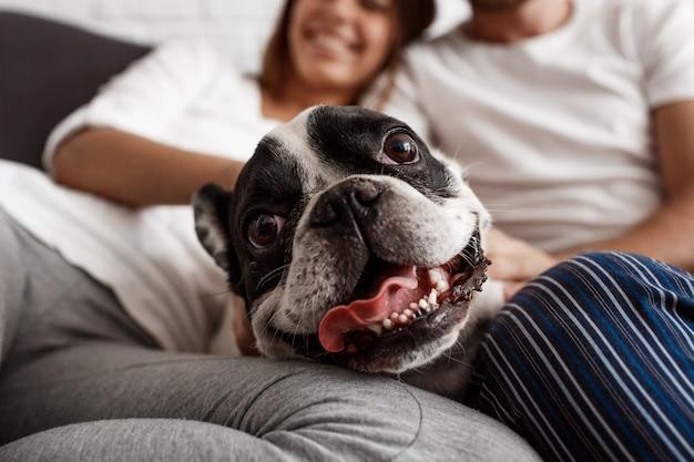 Mooi paar dat op bank met hond rust Gratis Foto