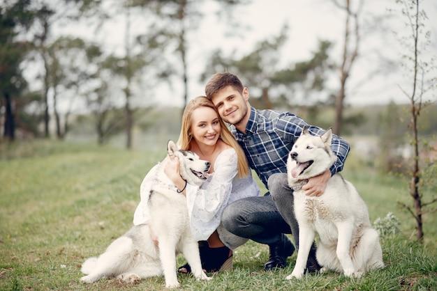 Mooi paar in een de zomerbos met honden Gratis Foto
