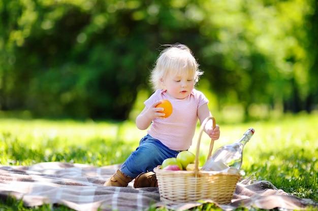 Mooi peuterkind die een picknick in zonnig park hebben Premium Foto
